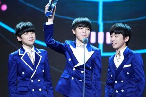 "TFBOYS won the ""Most Popular Singer from Mainland"" award at the Second Yinyue V Annual Awards, April 15, 2014"